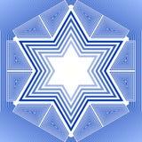 De ster van David in blauw en wit ontwerp Het nationale symbool van Israël in overzichtsontwerp Stock Foto's