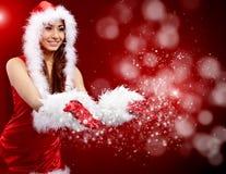 De ster van de de vrouwenholding van Kerstmis stock fotografie
