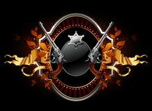 De ster van de sheriff met kanonnen overladen frame Royalty-vrije Stock Afbeeldingen