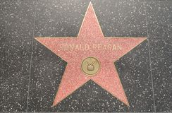 De Ster van Ronald Reagan op de Boulevard Stock Foto