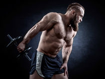 De sterke bodybuilder met zes pakt, perfectioneert abs, schouders, bicepsen in Stock Afbeelding