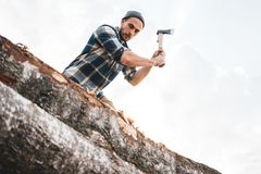 De sterke houthakker in plaidoverhemd hakt boom in hout met scherpe bijl, sluit omhoog bijl, houten spaandersvlieg stock foto