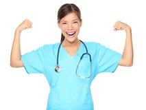 De sterkte van de de spiermacht van de verpleegster Stock Afbeelding