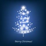 De sterren van de kerstboom op blauw Stock Foto