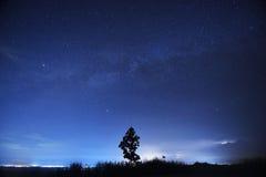 De sterren van de nachthemel met melkachtige manier op bergachtergrond royalty-vrije stock afbeelding
