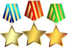 De sterren van het goud, van het zilver en van het brons (vector) Stock Foto's