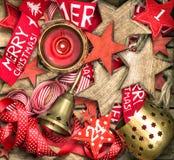 De sterren van Kerstmisdecoratie, komstkalender en brandende kaars Royalty-vrije Stock Afbeelding