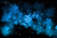 De sterrige achtergrond van de nachthemel met blauwe nevel Stock Afbeeldingen