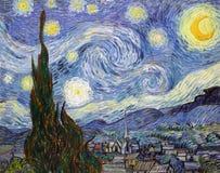 ` De Sterrige die Nacht ` door Vincent Van Gogh wordt geschilderd Stock Foto's