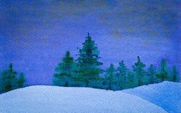 De sterrige en stille waterverf van de de winternacht Royalty-vrije Stock Afbeelding