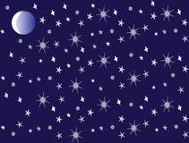 De sterrige hemel en de maan Stock Afbeeldingen