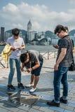 De sterweg van mensenjet li van Sterren Tsim Sha Tsui Kowloon Hong Ko Royalty-vrije Stock Foto