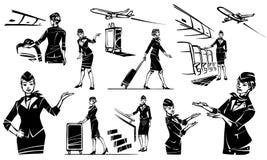 De stewardess gaat en rolt haar koffer Mooie steward in een vliegtuig vector illustratie
