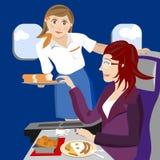 De stewardess van de lucht op vliegtuig royalty-vrije illustratie