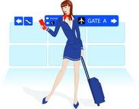 De stewardess van de schoonheid bij de luchthaven Stock Foto's