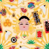 De sticker naadloos patroon van Kumadeokame Royalty-vrije Stock Foto