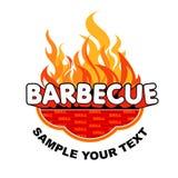 De sticker van de barbecue op vlammenachtergrond Stock Afbeelding