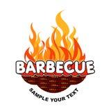 De sticker van de barbecue op vlammenachtergrond. Royalty-vrije Stock Foto
