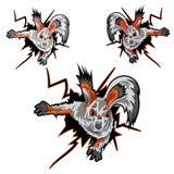 De sticker van de eekhoorn kruipt uit het gat Stock Foto's