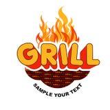 De sticker van de grill op vlammenachtergrond. Stock Afbeelding