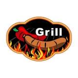 De sticker van de grill op vurige achtergrond Stock Afbeelding