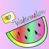 De sticker van de neonwatermeloen Stock Afbeeldingen