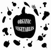 de sticker van de veganistzwarte peper op witte natuurlijke organische verse groenten als achtergrond rganic de illustratiemalpla royalty-vrije illustratie