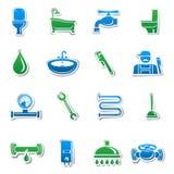 De stickerinzameling van loodgieterswerkhulpmiddelen Stock Foto