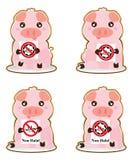 De stickerreeks niet van Halal van de varkensgreep stock illustratie