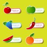 De stickerreeks van het fruit Stock Fotografie