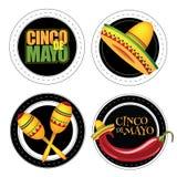De stickers of de kentekens van Cinco De Mayo Royalty-vrije Stock Afbeeldingen