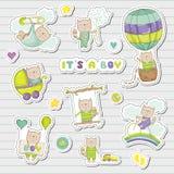 De Stickers van de babyjongen voor de Partijviering van de Babydouche Decoratieve Elementen voor Pasgeboren Viering vector illustratie