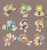 De stickers van de de bijenjongen van het beeldverhaal Stock Foto