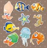 De stickers van de de visseninzameling van het beeldverhaal Stock Foto