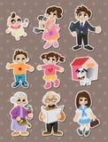 De Stickers van de familie van het beeldverhaal, Etiket Stock Foto's