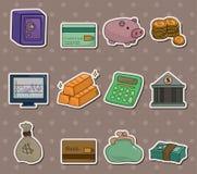 De stickers van de Financiën & van het Geld van het beeldverhaal Stock Afbeeldingen