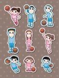 De stickers van de het basketbalspeler van het beeldverhaal Royalty-vrije Stock Afbeeldingen