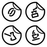 De stickers van de koffie Stock Afbeeldingen