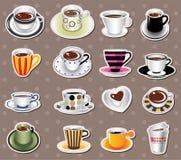 De stickers van de koffie Stock Foto's