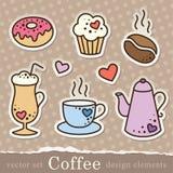 De stickers van de koffie Royalty-vrije Stock Afbeeldingen