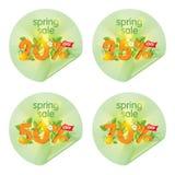 De stickers van de lentetijdverkoop Stock Afbeeldingen