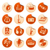De stickers van de muziek Stock Afbeeldingen