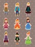 De stickers van de Prins en van de Prinses van het beeldverhaal Royalty-vrije Stock Foto's