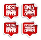 De stickers van de toespraakbellen van de weekendaanbieding Stock Afbeeldingen