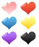 De stickers van de Valentijnskaarten van het hart en van de Liefde/knopen Stock Illustratie