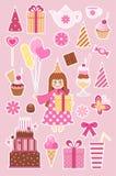 De stickers van de verjaardag Stock Afbeeldingen