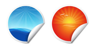 De Stickers van de zomer vector illustratie