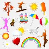 De stickers van de zomer Stock Fotografie