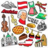 De Stickers van het de Reisplakboek van Oostenrijk, Flarden, Kentekens voor Drukken met Alpen, Cake en Oostenrijkse Elementen royalty-vrije illustratie