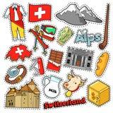 De Stickers van het de Reisplakboek van Zwitserland, Flarden, Kentekens voor Drukken met Alpen, Geld en Zwitserse Elementen royalty-vrije illustratie